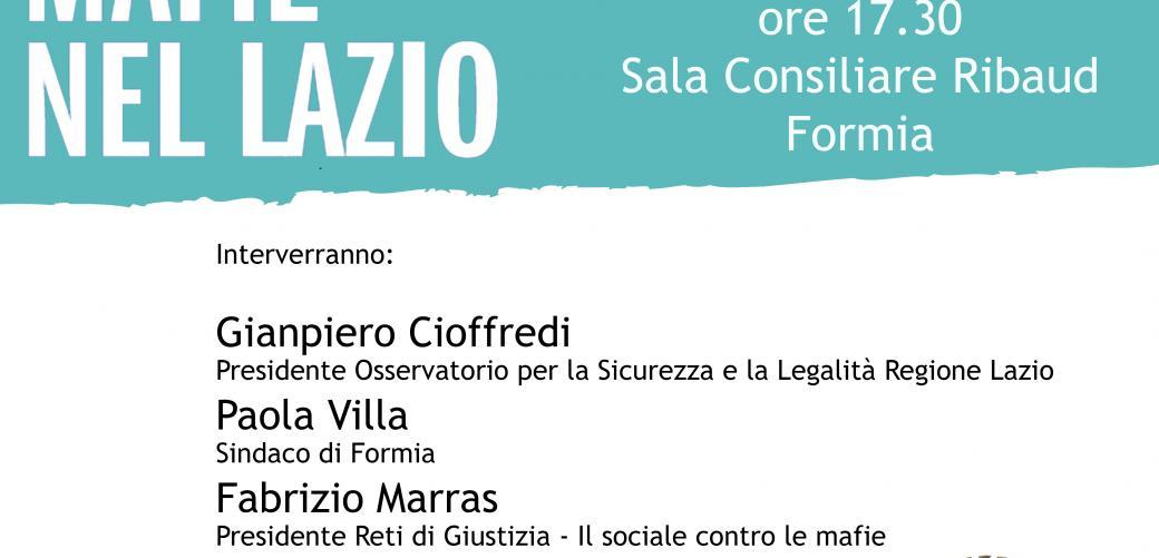 Locandina presentazione mafie nel Lazio Formia