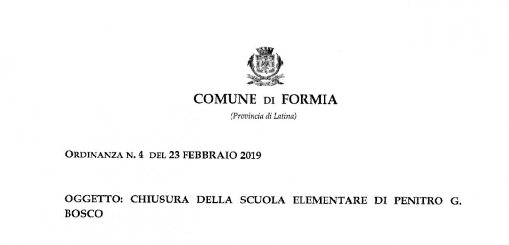 Ordinanza n°4 2019 Formia