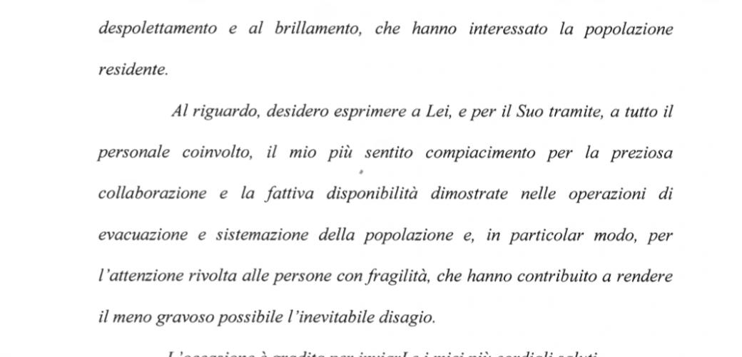 Lettera del Prefetto Maria Rosa Trio