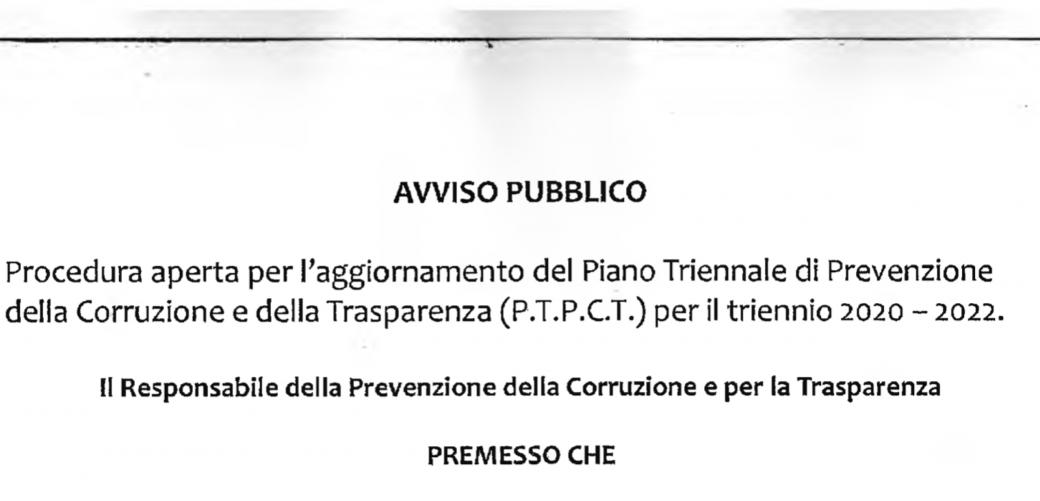 AVVISO PUBBLICO: Procedura aperta per l'aggiornamento del Piano Triennale di Prevenzione della Corruzione e della Trasparenza (P.T.P.CT.) per il triennio 2020 - 2022.