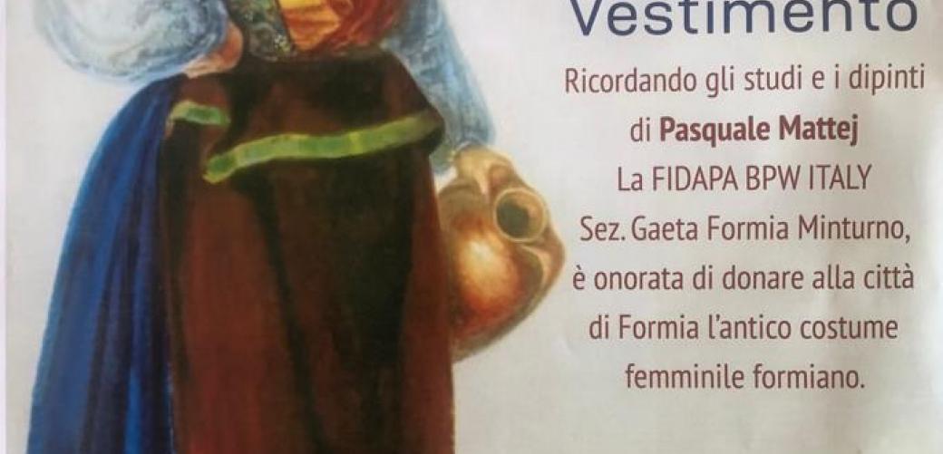La Fidapa donerà alla città l'antico costume femminile formiano