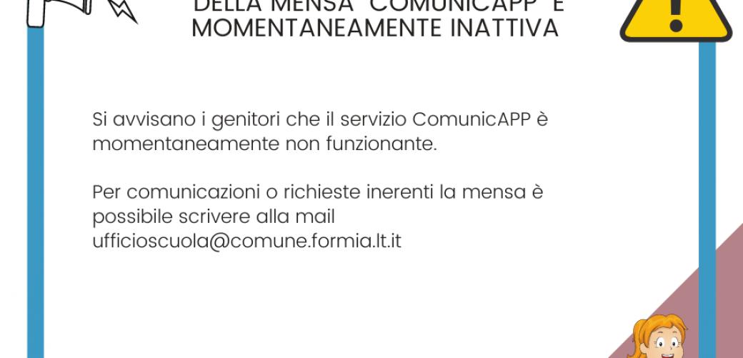 Servizio ComunicaAPP momentaneamente non funzionante