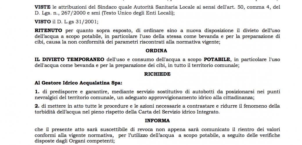 FENOMENO DI TORBIDITA' DELL'ACQUA NEL COMUNE DI FORMIA